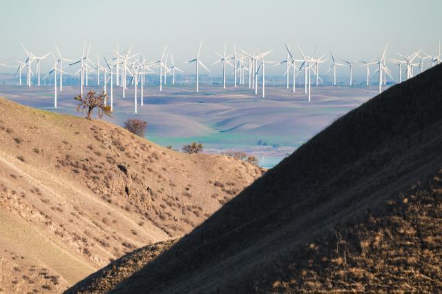 Wind farm on the hills